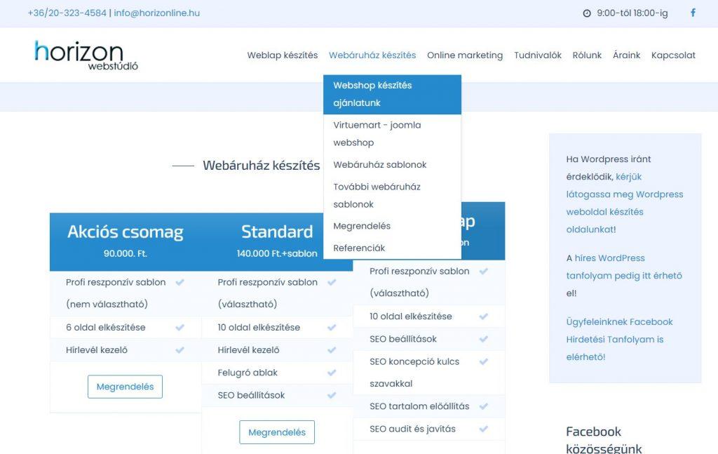 Joomla webshop, webáruház készítls